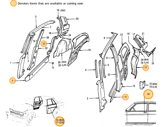 Datsun 510 Mid Restoration Parts